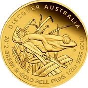 Australia 50 Dollars Discover Australia - Green and Gold Bell Frog 2012 KM# 1726 DISCOVER AUSTRALIA 2012 GREEN & GOLD BELL FROG 1/2 OZ 9999 GOLD P WR coin reverse