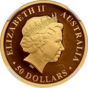 Australia 50 Dollars Discover Australia - Kangaroo 2013 KM# 2053 ELIZABETH II AUSTRALIA 50 DOLLARS IRB coin obverse