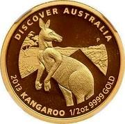 Australia 50 Dollars Discover Australia - Kangaroo 2013 KM# 2053 DISCOVER AUSTRALIA 2013 KANGAROO 1/2 OZ 9999 GOLD P coin reverse