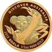 Australia 50 Dollars Discover Australia - Koala 2013 KM# 2055 DISCOVER AUSTRALIA 2013 KOALA 1/2 OZ 9999 GOLD P coin reverse