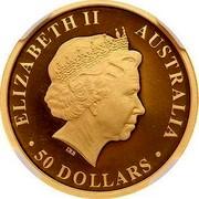 Australia 50 Dollars Discover Australia - Kookaburra 2013 KM# 2054 ELIZABETH II AUSTRALIA 50 DOLLARS IRB coin obverse