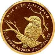 Australia 50 Dollars Discover Australia - Kookaburra 2013 KM# 2054 DISCOVER AUSTRALIA 2013 KOOKABURRA 1/2 OZ 9999 GOLD P coin reverse