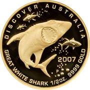 Australia 50 Dollars Great white shark 2007 P Proof KM# 976 DISCOVER AUSTRALIA 2007 GREAT WHITE SHARK 1/2OZ. 9999 GOLD coin reverse