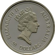 Australia 50 Dollars Koala 1995 KM# 281 ELIZABETH II AUSTRALIA 50 DOLLARS coin obverse