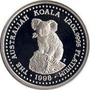 Australia 50 Dollars Koala 1999 KM# 459 THE AUSTRALIAN KOALA 1/2 OZ. 9995 PLATINUM 1998 coin reverse