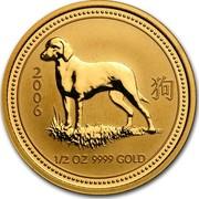 Australia 50 Dollars Lunar Dog 2006 KM# 1901 2006 1/2 OZ 9999 GOLD coin reverse