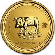 Australia 50 Dollars Lunar Pig 2007 KM# 1902 2007 1/2 OZ 9999 GOLD coin reverse