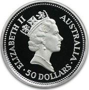 Australia 50 Dollars The Australian Koala 1992 KM# 173 ELIZABETH II AUSTRALIA 50 DOLLARS RDM coin obverse