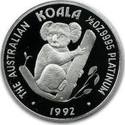 Australia 50 Dollars The Australian Koala 1992 KM# 173 THE AUSTRALIAN KOALA 1/2 OZ 9995 PLATINUM 1992 P coin reverse