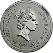 Australia 50 Dollars (The Australian Koala) KM# 347 ELIZABETH II AUSTRALIA 50 DOLLARS RDM coin obverse