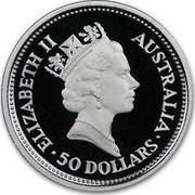 Australia 50 Dollars (The Australian Koala) KM# 148 ELIZABETH II AUSTRALIA 50 DOLLARS RDM coin obverse