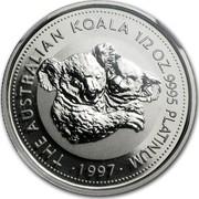 Australia 50 Dollars (The Australian Koala) KM# 347 THE AUSTRALIAN KOALA 1/2 OZ. 9995 PLATINUM 1997 coin reverse