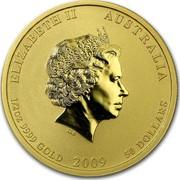 Australia 50 Dollars Year of the Ox 2009 KM# 1904 ELIZABETH II AUSTRALIA 1/2 OZ 9999 GOLD 2009 50 DOLLARS IRB coin obverse
