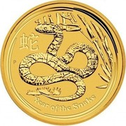 Australia 50 Dollars Year of the Snake 2013 KM# 1998 YEAR OF THE SNAKE P coin reverse