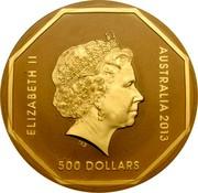 Australia 500 Dollars Kangaroo Road Sign 2013 Proof KM# 1957 ELIZABETH II AUSTRALIA 2013 500 DOLLARS IRB coin obverse