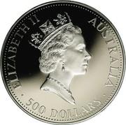 Australia 500 Dollars The Australian Koala 1991 KM# 157 ELIZABETH II AUSTRALIA 500 DOLLARS RDM coin obverse