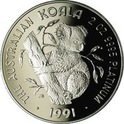 Australia 500 Dollars The Australian Koala 1991 KM# 157 THE AUSTRALIAN KOALA 2 OZ 9995 PLATINUM 1991 P JB coin reverse
