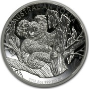 Australia 8 Dollars Australian Koala 2013 KM# 2044 AUSTRALIAN KOALA 2013 5 OZ 999 SILVER P TV coin reverse