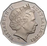 Australia Fifty Cents Centenary of Federation - Australian Capital Territory 2001 KM# 553 ELIZABETH II AUSTRALIA 2001 IRB coin obverse