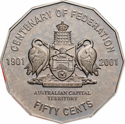 Australia Fifty Cents Centenary of Federation - Australian Capital Territory 2001 KM# 553 CENTENARY OF FEDERATION 1901 2001 AUSTRALIAN CAPITAL TERRITORY FIFTY CENTS FOR THE QUEEN, THE LAW, AND THE PEOPLE coin reverse