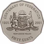Australia Fifty Cents Centenary of Federation - New South Wales 2001 KM# 551 CENTENARY OF FEDERATION 1901 2001 NEW SOUTH WALES FIFTY CENTS ORTA RECENS QUAM PURA NITES coin reverse