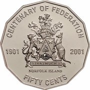 Australia Fifty Cents (Centenary of Federation - Norfolk Island) KM# 533 CENTENARY OF FEDERATION 1901 2001 NORFOLK ISLAND FIFTY CENTS INASMUCH coin reverse