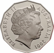 Australia Fifty Cents Centenary of Federation - Queensland 2001 KM# 555 ELIZABETH II AUSTRALIA 2001 IRB coin obverse