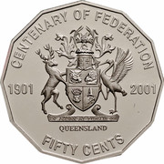 Australia Fifty Cents Centenary of Federation - Queensland 2001 KM# 555 CENTENARY OF FEDERATION 1901 2001 QUEENSLAND FIFTY CENTS coin reverse