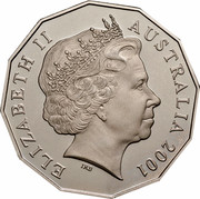 Australia Fifty Cents (Centenary of Federation - South Australia) KM# 561 ELIZABETH II AUSTRALIA 2001 IRB coin obverse