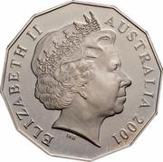 Australia Fifty Cents Centenary of Federation - Tasmania 2001 KM# 565 ELIZABETH II AUSTRALIA 2001 IRB coin obverse