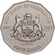 Australia Fifty Cents Centenary of Federation - Tasmania 2001 KM# 565 CENTENARY OF FEDERATION 1901 2001 TASMANIA FIFTY CENTS UBERTAS ET FIDELITAS coin reverse