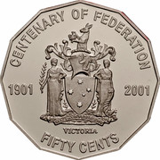 Australia Fifty Cents (Centenary of Federation - Victoria) KM# 557 CENTENARY OF FEDERATION 1901 2001 VICTORIA FIFTY CENTS PEACE AND PROSPERITY coin reverse