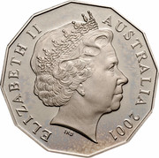 Australia Fifty Cents (Centenary of Federation - Western Australia) KM# 563 ELIZABETH II AUSTRALIA 2001 IRB coin obverse