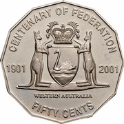 Australia Fifty Cents (Centenary of Federation - Western Australia) KM# 563 CENTENARY OF FEDERATION 1901 2001 FIFTY CENTS WESTERN AUSTRALIA coin reverse