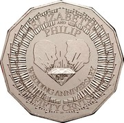 Australia Fifty Cents Diamond Wedding - Elizabeth and Philip 2007 KM# 1041 ELIZABETH AND PHILLIP 60TH WEDDING ANNIVERSARY FIFTY CENTS coin reverse