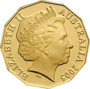 Australia Fifty Cents World War Remembrance 2005 B Proof KM# 746b ELIZABETH II AUSTRALIA 2005 coin obverse