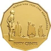 Australia Fifty Cents World War Remembrance 2005 B Proof KM# 746b WORLD WAR 1939-1945 REMEMBRANCE FIFTY CENTS coin reverse