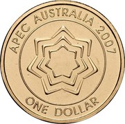 Australia One Dollar APEC Australia 2007 KM# 1040 APEC AUSTRALIA 2007 ONE DOLLAR coin reverse