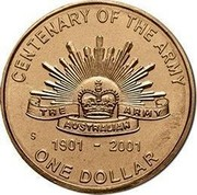 Australia One Dollar Army Anniversary 2001 KM# 530 CENTENARY OF THE ARMY THE ARMY AUSTRALIAN 1901 - 2001 ONE DOLLAR coin reverse