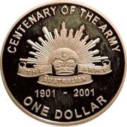 Australia One Dollar Army Anniversary 2001 KM# 530a CENTENARY OF THE ARMY THE ARMY AUSTRALIAN 1901 - 2001 ONE DOLLAR coin reverse