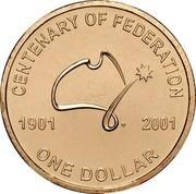 Australia One Dollar Centenary of Federation 2001 B IRB joined KM# 534.1 CENTENARY OF FEDERATION 1901 2001 ONE DOLLAR coin reverse
