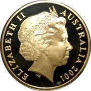 Australia One Dollar Centenary of Federation (Colorized) 2001 KM# 534.2 ELIZABETH II AUSTRALIA 2001 IRB coin obverse