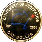 Australia One Dollar Centenary of Federation (Colorized) 2001 KM# 534.2 CENTENARY OF FEDERATION 1901 2001 ONE DOLLAR coin reverse