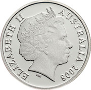 Australia One Dollar Coat of Arms 2008 KM# 1047a ELIZABETH II AUSTRALIA 2008 IRB coin obverse