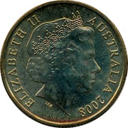 Australia One Dollar Coat of Arms 2008 KM# 1047 ELIZABETH II AUSTRALIA 2008 IRB coin obverse