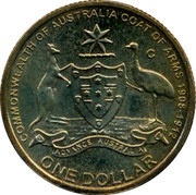 Australia One Dollar Coat of Arms 2008 KM# 1047 COMMONWEALTH OF AUSTRALIA COAT OF ARMS 1908-1912 ADVANCE AUSTRALIA ONE DOLLAR C coin reverse