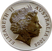 Australia One Dollar Kangaroo with Football (Colorized) 2008 KM# 1061b ELIZABETH II AUSTRALIA 2008 IRB coin obverse