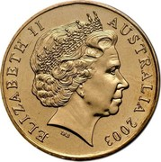 Australia One Dollar Korean War Remembrance 2003 KM# 663 ELIZABETH II AUSTRALIA 2003 IRB coin obverse