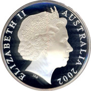 Australia One Dollar Melbourne Mint 2002 KM# 660 ELIZABETH II AUSTRALIA 2002 IRB coin obverse