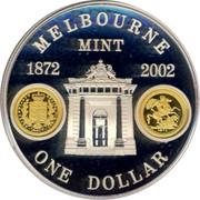 Australia One Dollar Melbourne Mint 2002 KM# 660 MELBOURNE MINT 1872 2002 ONE DOLLAR coin reverse